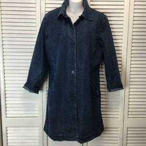 Faconable womens denim coat jacket size Large